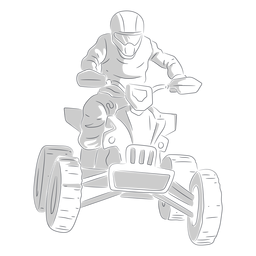 Pilot racing quad bike hand drawn