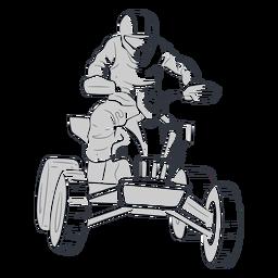 Piloto de carreras en quad dibujado a mano.