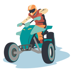 Pilot riding atv illustration