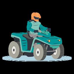 Ilustração de piloto pilotando um atv azul