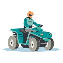 Pilot riding blue atv illustration