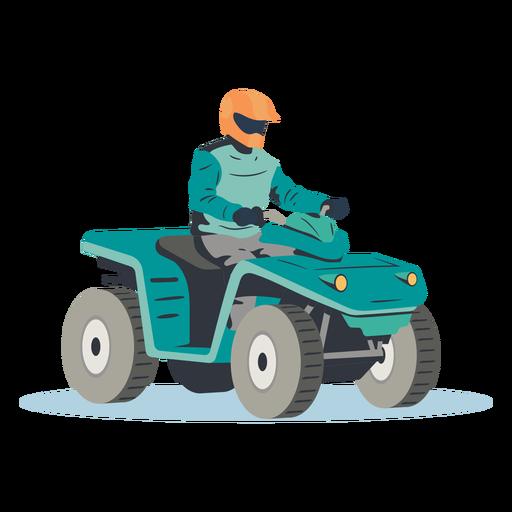 Piloto montando atv azul ilustración