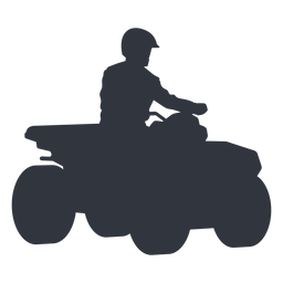 Pilot riding quad bike silhouette