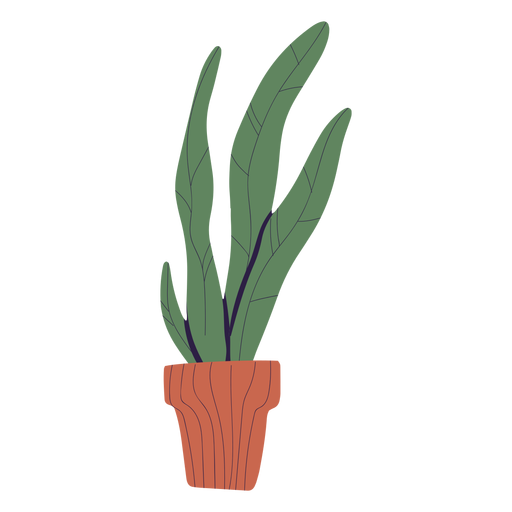 Plant in brown pot illustration