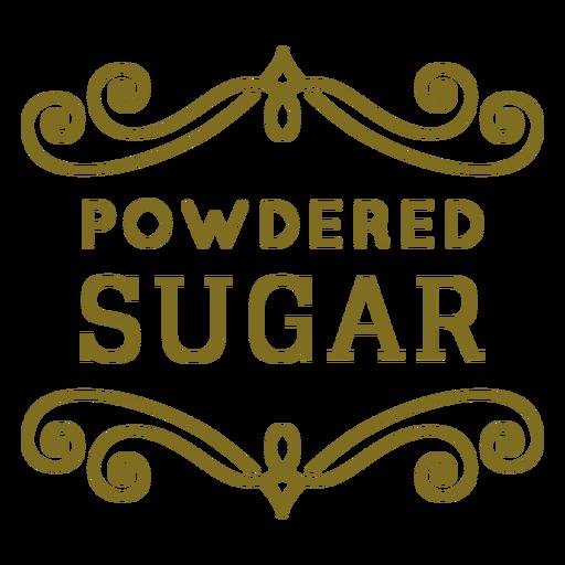 Etiqueta de remolinos de azúcar en polvo