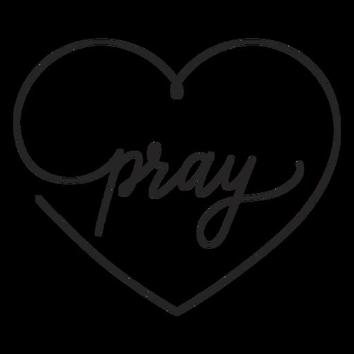 Orar en letras de corazón
