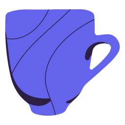 Purple coffee mug hand drawn