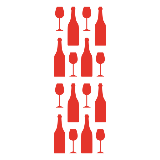 Red wine glass and bottle pattern Transparent PNG