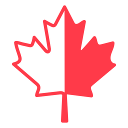 Red and white maple leaf flat