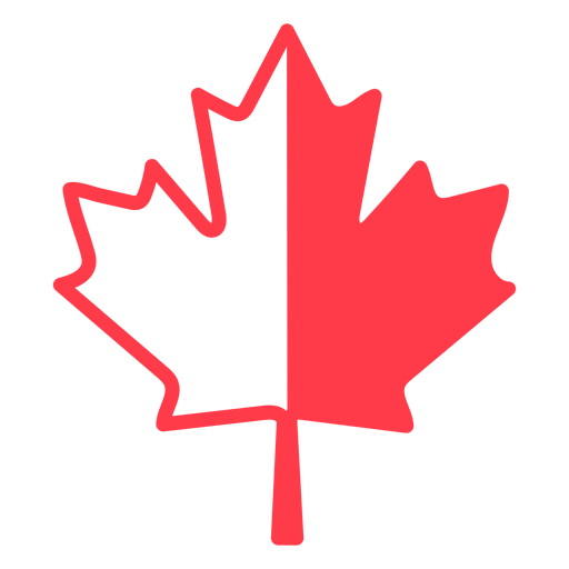 Red and white maple leaf flat Transparent PNG