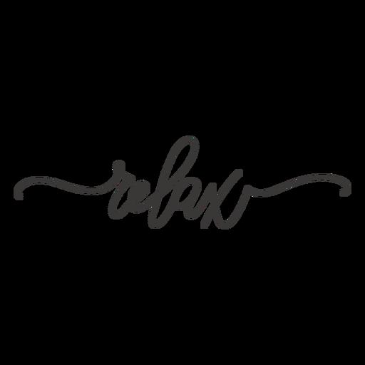 Relax cursive lettering