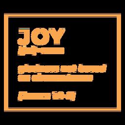 Letras de alegría de definición religiosa