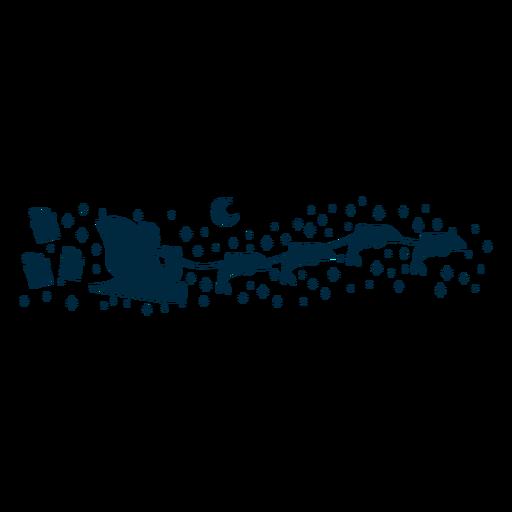 Santa claus riding dolphins silhouette