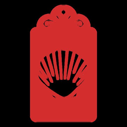Etiqueta de corte de papel de concha de mar