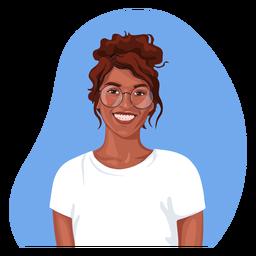 Sonriente personaje realista de mujer negra