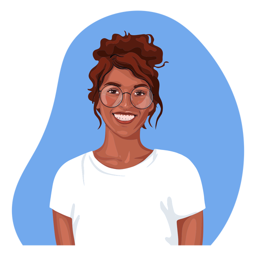 Smiling black woman realistic character