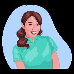 Sonriente personaje realista de mujer china