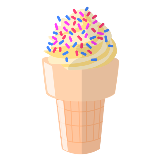 Ilustración de cono de vainilla espolvoreado