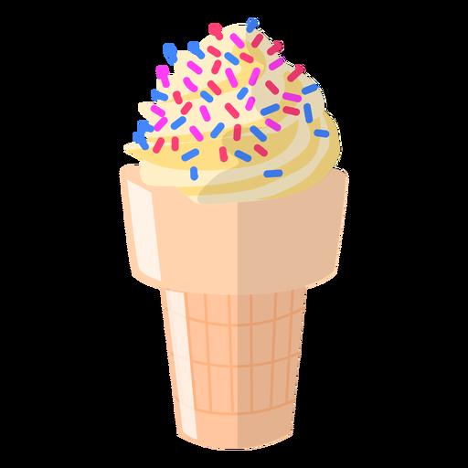 Sprinkled vanilla cone illustration