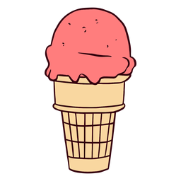 Ilustración de cono de helado de fresa