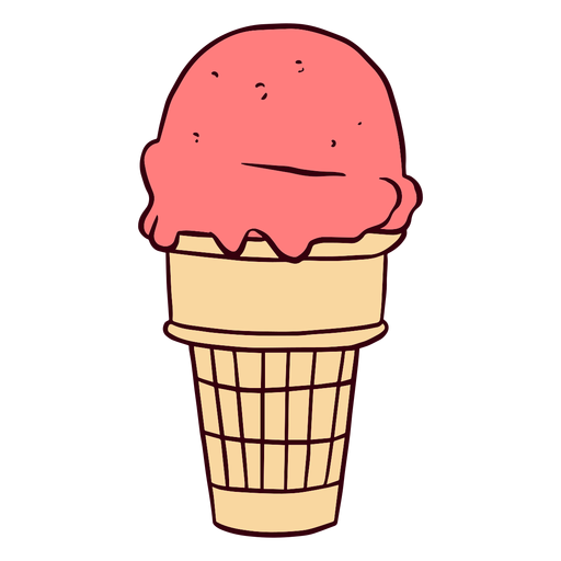 Strawberry ice cream cone illustration Transparent PNG
