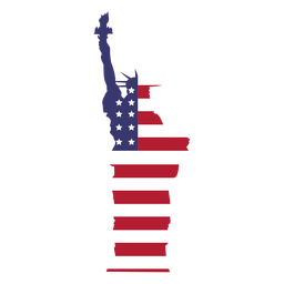 Bandera de estados unidos estatua de la libertad plana