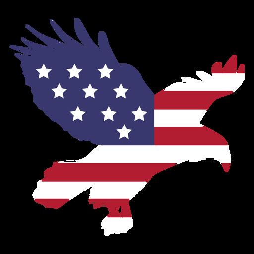 Bandeira dos EUA hasteada com águia plana