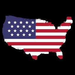 Bandera de Estados Unidos en el mapa del país plano