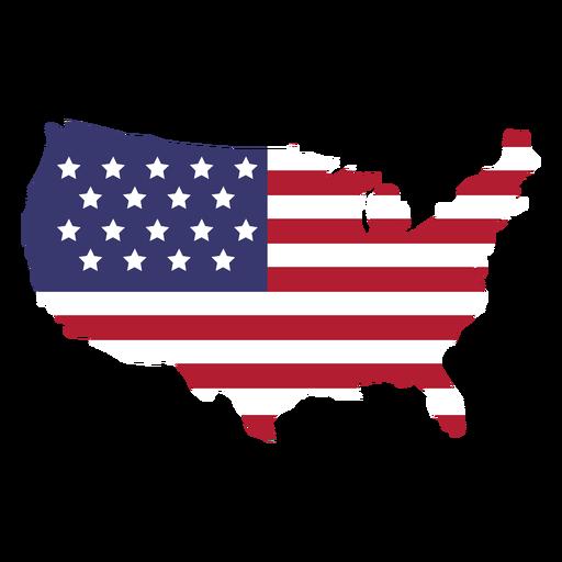 Bandera de Estados Unidos en el mapa del país plano Transparent PNG