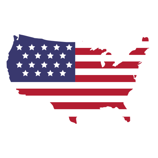 Usa flag in country map flat