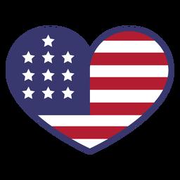 Bandeira dos EUA no coração plano
