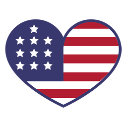 Usa flag in heart flat