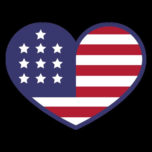 Bandera de Estados Unidos en corazón plano