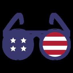 Bandeira dos EUA em óculos redondos