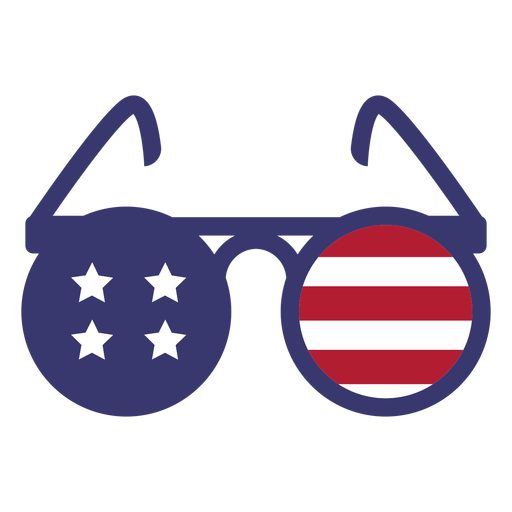 Usa flag in round glasses flat