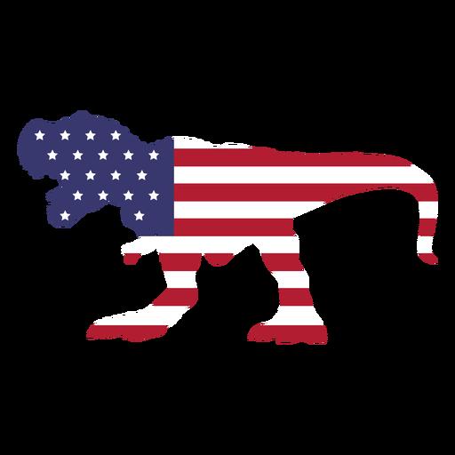 Usa Flagge in t rex flach