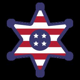 Insignia de sherrif bandera de Estados Unidos plana