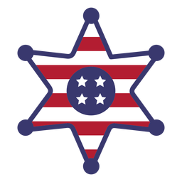 Usa flag sherrif badge flat