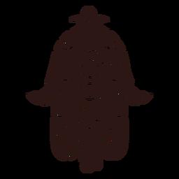 Mão de cabeça para baixo hamsa preto