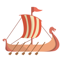 Viking historic row ship illustration