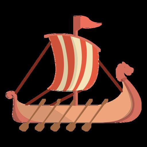 Ilustración de barco de fila histórico vikingo