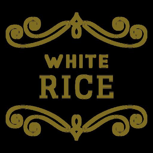 Etiqueta de remolinos de arroz blanco
