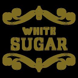 Etiqueta de remolinos de azúcar blanca