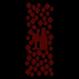 Copa de vino y patrón de botella