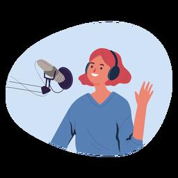 Saludo de mujer en personaje de podcast