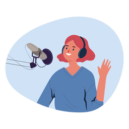 Woman greeting in podcast character