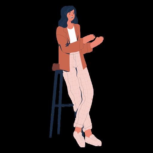 Mulher reclinada falando personagem