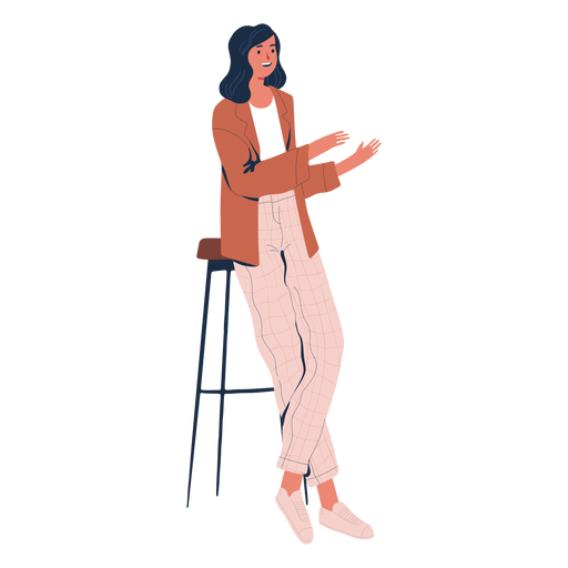 Woman reclined talking character