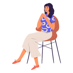 Woman sitting character