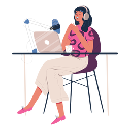 Mulher sentada falando em caráter de podcast